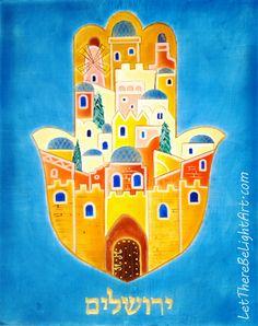 Icon Painting and Egg Tempera Art & Classes Jewish Crafts, Jewish Art, Mandala Painting, Hamsa Painting, Arte Judaica, Ganesha, Jerusalem, Abstract City, Hand Of Fatima