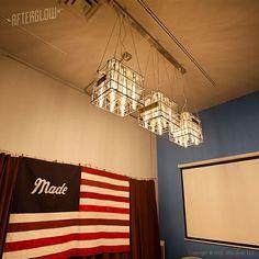 Custom Made Corporate Lighting Installation: Vintage Milk Crates