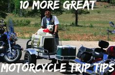 10 more great tips for your next motorcycle trip - even if you don& pull your trailer along. - The USA Trailer Store Motorcycle Cargo Trailer, Pull Behind Motorcycle Trailer, Motorcycle Camping, Camping Gear, Dog Trailer, Utility Trailer, Harley Bikes, Cargo Trailers, Motor Car