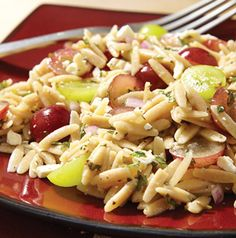 Here's a new unexpected spin on pasta salad. Orzo and Grape Salad with Feta and Mint will your summer go to.