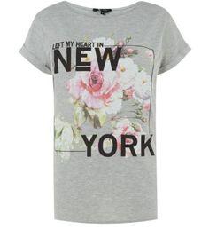 Grey New York Flower T-Shirt