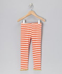 Take a look at this Orange Stripe Leggings - Infant, Toddler & Girls by Mis-Tee-V-Us on #zulily today!