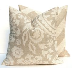 Throw Pillow Covers 16x16. Tan .Taupe. Pillow Covers. Burlap . Chevron Pillow Decorator Pillow .ZigZag HouseWares Printed Fabric both sides