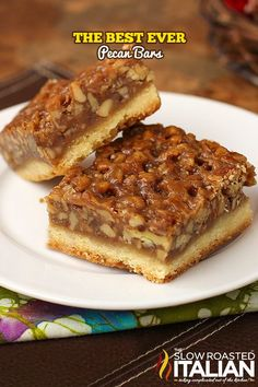 The Best Ever Pecan Pie Bars are so good people offer to pay me for them. A fabulous recipe with a caramelized pecan pie set atop a shortbread crust is the absolute perfect nut bar. Easy Pie Recipes, Sweet Recipes, Cookie Recipes, Dessert Recipes, Bar Recipes, Pecan Recipes, Recipes With Pecans, Dinner Recipes, Finger Foods