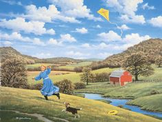 Flying High  JohnSloaneArt.com - John Sloane - Gallery - Country Kids