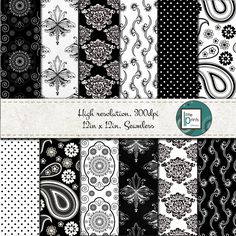 Digital Paper - Black and White Digital scrapbook paper, Damask digital paper, seamless digital paper, Black and white paisley paper by LittlePrintsOttawa on Etsy Birthday Party Invitations, Baby Shower Invitations, Digital Scrapbook Paper, Shopping Mall, Paper Goods, Damask, Ontario, Cyber, Gift Tags