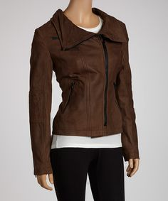 Take a look at this Buffalo David Bitton Dark Brown Leather Jacket - Women on zulily today!