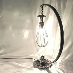 Bicycle parts table lamp collection by Velolumiere - For more great pics, follow www.bikeengines.com