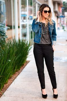 Look do Dia: Jaqueta Jeans e Calça de Alfaiataria