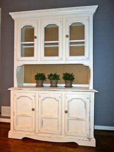 cute hutch with burlap back. Love the added burlap... adorable=)