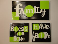 Hand Painted Wood Tiles Grouping by KLKDesignsLLC on Etsy, $25.00