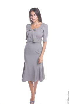Купить Серое Элегантное Ретро Платье Миди - серый, однотонный, ретро стиль, ретро платье
