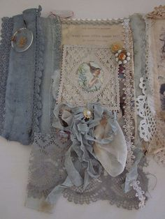 gorgeous blue and lace altered  book  by tarnishedandtattered