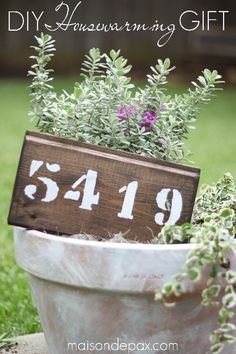 creative, thoughtful, personal - this DIY whitewashed pot with plants and a painted wood house number sign is a housewarming gift or front porch planter | maisondepax.com