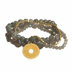 """Awaken Labradorite Stretch Bracelet Set The Black Bow. $158.00. Faceted labradorite beads. Stones may vary from colors shown. 24k gold vermeil accent beads & 3/4"""" charm. Set of four 7 1/2"""" stretch bracelets"""