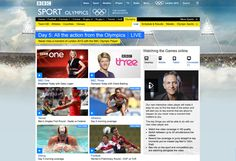 Mock up of Olympic homepage on day 5 of the games