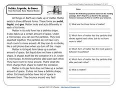 Solids, Liquids, & Gases | 2nd Grade Reading Comprehension Worksheets   link to a vid: http://youtu.be/btGu9FWSPtc