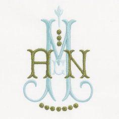 Delphinium Beautiful 2 color monogram from The Lovelist