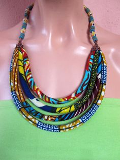 COLORFUL - African wax print BIB necklace, recycled beads,hand paintet…