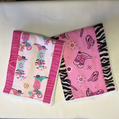 Burp cloth, Western set of 2, pink with animal print, boots, guitar, cowgirl hat, cowgirl, baby by DribblesNDrools on Etsy
