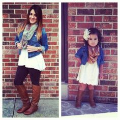 Mother daughter outfit idea for family pictures.