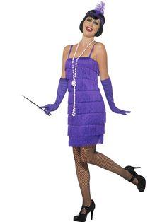 Flappertytön mekkoasu. Naamiaisasun mekko paljastaa polvet tyylikkäästi ja samansävyiset käsineet sekä päähine viimeistelevät naamiaisasun tyylin.