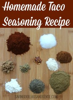 Make this Homemade Taco Seasoning without all the sodium of the packaged ones you get from the store.