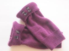 Fingerless Gloves Cashmere Purple by ArtisanFeltStudio on Etsy