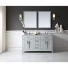 OVE Tahoe 60 x 21-inch Vanity in Dove with White Marble Vanity Top and Mirror