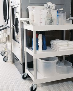 Cleaning supplies look tidier and are more convenient to use when decanted into attractive, manageable containers.