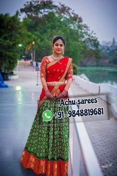 Half Saree Designs, Saree Blouse Designs, Lehenga Saree Design, Lehenga Choli, Langa Voni, New Look Dresses, Girls Frock Design, Frocks For Girls, Ikkat Silk Sarees
