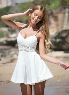 6a8a974a6d White Crochet Lace Skater Dress By Xenia