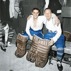 Terry Sawchuck &Johnny Bower after the 1967 Cup final.