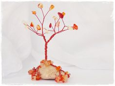 Beaded Wire Tree Sculpture With Agate Stones, Autumn Harvest Home Decor, Metal Tree Sculpture, Bonsai Wire Tree, Wire Tree Of Life - May on Etsy, $24.38