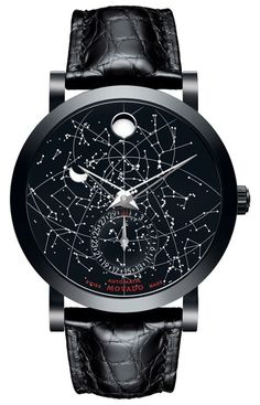 Red Label - Men's Red Label Skymap, limited production, 42 mm black PVD-finished stainless steel case with exhibition back, black dial mapped with artist-enhanced photographic image of the constellations/moon phase window/date indicator subdial/silver-toned signature concave dot/skeleton dauphine hands, black alligator strap with black PVD-finished stainless steel classic tongue buckle, sapphire crystal, Swiss automatic movement with moon phase complication/custom red M rotor, water…