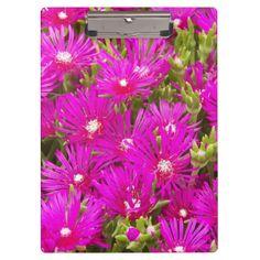 Pink Delosperma Floral Clipboard #officesupplies #flowers #succulents
