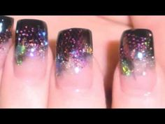 Cosmic Acrylic Nail Tutorial (slideshow/step by step) by PrkyPink, via You Tube | | Gorgeous!  I can see this with a 'Little Black Dress'. Cocktails, anyone?  The killer is the tulle strips - gives the nail depth, almost a 3D kinda thing.