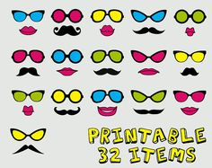 PRINTABLE Colorful Party Photo Booth Props by EllasCrown on Etsy, $9.00