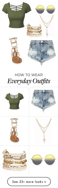 """Everyday summer outfit"" by untoldseecrets on Polyvore featuring LE3NO, One Teaspoon, Matthew Williamson, Steve Madden and PanaceaI love this outfit!"