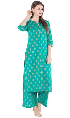 Beautiful Amayra Women's Cotton Kurti With Palazzos. Amayra brings to you this beautiful kurti with palazzo which is made from cotton fabric and is turquoise in color with beautiful gold print all over. Palazzo With Kurti, Silk Kurti, Weird Fashion, Embroidered Tunic, Fashion Deals, Cotton Style, Salwar Suits, Traditional Outfits, Types Of Sleeves