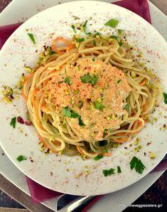 Σπαγγέτι με κρέμα από πιπεριές