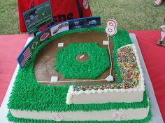 Baseball Field Cake with meaningful billboards Baseball Field Cake, Baseball Theme Cakes, Baseball Birthday Cakes, Baseball Party, Sports Party, Baseball Boys, Baseball Cleats, Baseball Games, Baseball Clothes