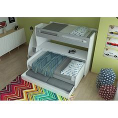 Brayden Studio Gautreau Twin Futon Bunk Bed with Table and Trundle Color: Gloss White and Matt Silver Twin Futon, Daybed Mattress, Futon Bunk Bed, Bunk Bed With Trundle, Twin Xl Bedding, Twin Bunk Beds, Kids Bunk Beds, Mattress Covers, Xl Sofa