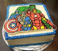 Avengers Birthday Cake using Frozen Butter-cream Transfer Great idea for Cooper