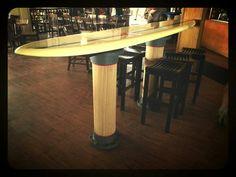 #surfboard #bar #table #pub #coastal #hangten #longboard #beach #docsseafood