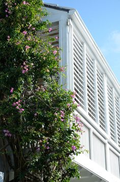 idea - Large shutters protect the interior spaces from the tropical sun. Outdoor Blinds, Outdoor Rooms, Outdoor Living, Indoor Outdoor, White Shutters, Bedroom Shutters, Exterior Trim, Exterior Design, Gardens