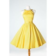 'Harley' Dress 1950s Pinup Gril Vintage Sexy Halter Swing Dresses in... ❤ liked on Polyvore featuring dresses, halter dress, sexy cocktail dresses, sexy halter tops, yellow dress and trapeze dress