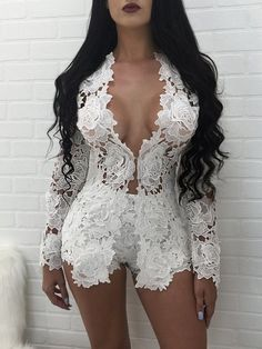 Sexy Open Front Lace Crochet Short Twinset