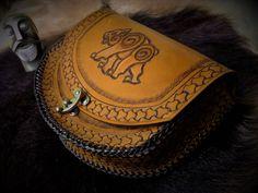 Leather Belt Pouch Bear Design Celtic by BeastmanCaravan