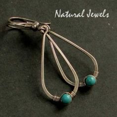 Hammered Drops with Turquoise - Sterling silver earrings with a bead of Torquoise - Made by Natural Jewels